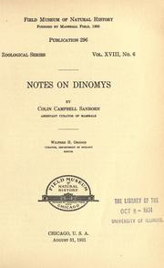 Cover of: Notes on Dinomys