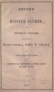 Cover of: Record of Hiester Clymer |