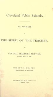 Cover of: An address on the spirit of the teacher