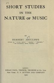 Cover of: Short studies in the nature of music