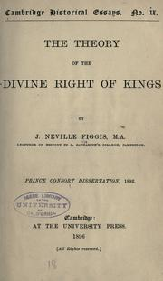 Cover of: The theory of the divine right of kings