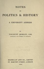 Cover of: Notes on politics & history