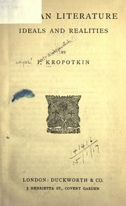Cover of: Russian literature, ideals and realiti
