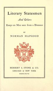 Literary statesmen, and others by Norman Hapgood
