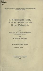 Cover of: A morphological study of some members of the Genus Pallavicinia