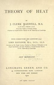 Cover of: Theory of heat | James Clerk Maxwell