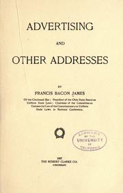 Cover of: Advertising, and other addresses