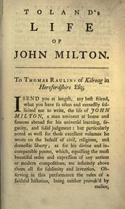 The life of John Milton by Toland, John