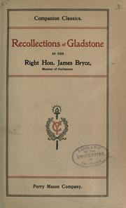 Cover of: Recollections of Gladstone