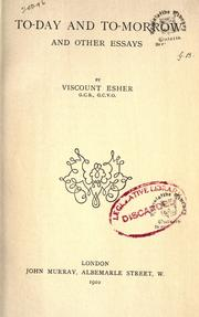 Cover of: To-day and to-morrow, and other essays