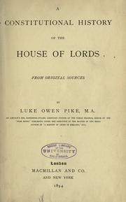 A constitutional history of the House of Lords by Luke Owen Pike