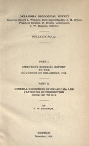 Cover of: Part I. Director's biennial report to the governor of Oklahoma, 1914
