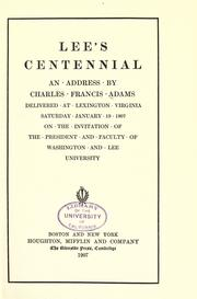Lee's centennial by Charles Francis Adams