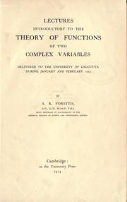 Cover of: Lectures introductory to the theory of functions of two complex variables