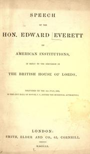 Cover of: Speech of the Hon. Edward Everett on American institutions