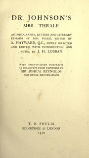Cover of: Dr. Johnson's Mrs. Thrale