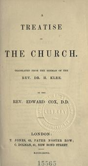 Cover of: A treatise on the church by Klee, Heinrich