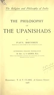 Cover of: The philosophy of the Upanishads. | Paul Deussen