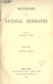Cover of: Dictionary of national biography | Edited by Sidney Lee