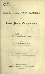 Cover of: Materials and models for Latin prose composition