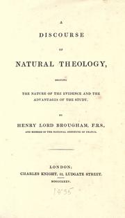 Cover of: A discourse of natural theology