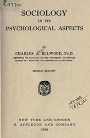 Cover of: Sociology in Its Psychological Aspects