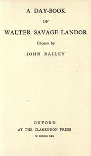Cover of: A day-book of Walter Savage Landor