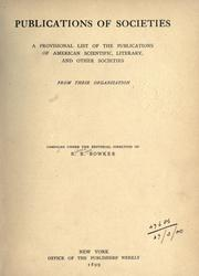 Cover of: Publications of societies