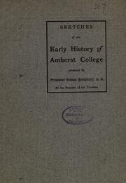 Cover of: Sketches of the early history of Amherst college