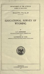Cover of: Educational survey of Wyoming
