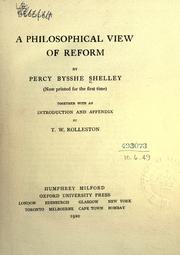 Cover of: A philosophical view of reform (now printed for the first time): Together with an introd. and appendix
