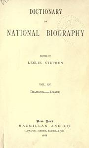 Cover of: Dictionary of national biography by Edited by Leslie Stephen