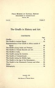 Cover of: The giraffe in history and art