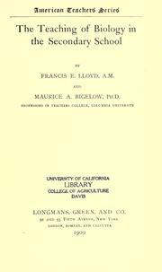Cover of: The teaching of biology in the secondary school