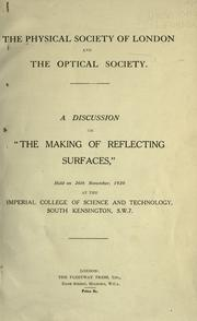 "Cover of: A discussion on ""The making of reflecting surfaces,"""