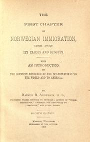 Cover of: The first chapter of Norwegian immigration (1821-1840)