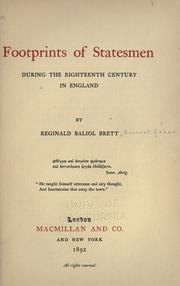 Cover of: Footprints of statesmen during the eighteenth century in England