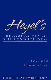 Cover of: Hegel's Phenomenology of Self-Consciousness: Text and Commentary (Suny Series in Hegelian Studies)