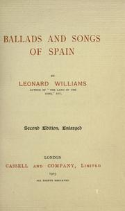 Cover of: Ballads and songs of Spain | Williams, Leonard