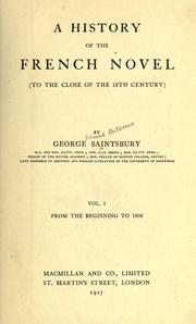 Cover of: A history of the French novel (to the close of the 19th century)