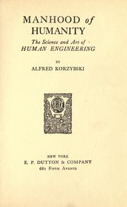 Cover of: Manhood of humanity | Alfred Korzybski