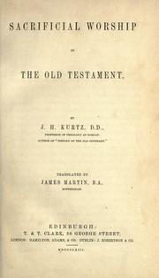 Cover of: Sacrificial worship of the Old Testament