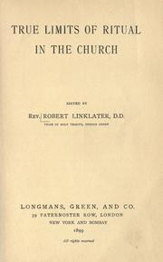 Cover of: True limits of ritual in the church