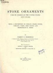 Cover of: Stone ornaments used by Indians in the United States and Canada