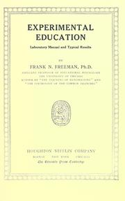 Cover of: Experimental education