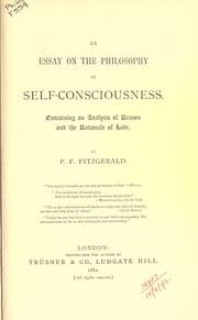 Cover of: An essay on the philosophy of self-consciousness