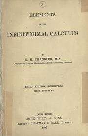 Cover of: Elements of the infinitesimal calculus. | George Henry Chandler