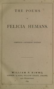 Cover of: The poems of Felicia Hemans