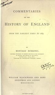 Cover of: Commentaries on the history of England from the earliest times to 1865