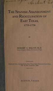 Cover of: The Spanish abandonment and reoccupation of east Texas, 1773-1779